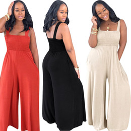 casual red black jumpsuits Australia - Apricot Black Red Street Wear Fashion Woman Full Length Jumpsuit Hot Sexy Spaghetti Straps Wide Legs Casual Rompers