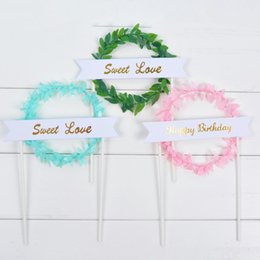 $enCountryForm.capitalKeyWord Australia - 1pc Tree Vine Happy Birthday Cake Decoration New Arrival Sweet Love Word Cupcake Topper Forest Series Dessert Table Insert Flag