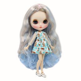 Painting Faces Australia - Blyth Doll 1 6 Joint Body hand painted mette face white skin Dreamy mixed color long curly Manual eye parts DIY BJD SD toy gift