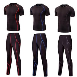 Compression Shorts For Men Australia - 2 piece tracksuit for men Short-sleeved T-shirt men's clothing crossfit fitness apparel MMA Clothing Compression stretch shorts