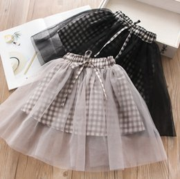5156c7296 Girls plaid party skirt kids lattice splicing lace tulle skirt children  lace-up Bows elastic waist princess skirt 2019 new kids clothes F538