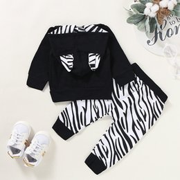 hoodies t shirt outfits NZ - Infant Baby Set For Boys Girls 2019 Autumn And Winter Striped Print Hoodie T-shirt Tops+Pants Outfits Sets erkek bebek giyim