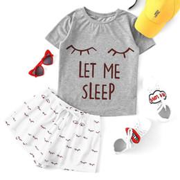 Cropped Tees Australia - Women's Design Crop Top Sleepwear Closed Eyes Print 2 Pieces Set Tee Shorts Pajama Set Stretchy Loose Tops Elastic Waist Casual