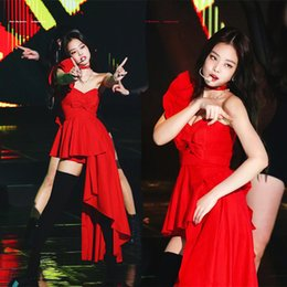 $enCountryForm.capitalKeyWord Australia - New Red Irregular Jazz Dance Costume Sexy DJ Female Singer Stage Performance Clothing Nightclub Bra Pole Dance Clothes DWY2037