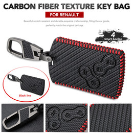 $enCountryForm.capitalKeyWord Australia - Leather Key Case For Car Styling Carbon Fiber Style Key Cover For Renault Duster Megane 2 3 Captur Kadjar Clio Accessories