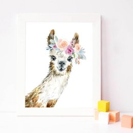 painting crown NZ - ome Decor Painting & Calligraphy Llama Print Alpaca Wall Art Girl Nursery Decorative Floral Crown Animal Llama Peekaboo Canvas Painti...