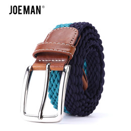 "wide elastic leather belts UK - Strong Elastic Casual Belt Waistband Braided Men's Fabric Leather Elastic Woven Stretch Belt 1-3 8"" Wide 95 to 150 cm"