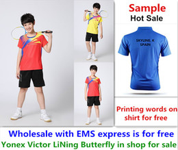 Ems Clothes Australia - Wholesale EMS for free, Text printing for free, new kid children badminton shirt clothes table tennis T sport shirt clothes 136