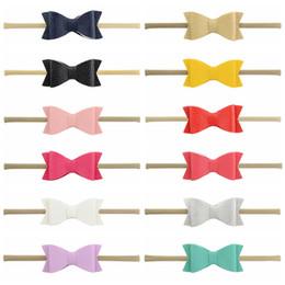 $enCountryForm.capitalKeyWord Australia - 12 colors baby girl cany color leather bow barrettes Design Hair bowknot Children Headwear Kids Headband Newborn Baby Hair Accessory