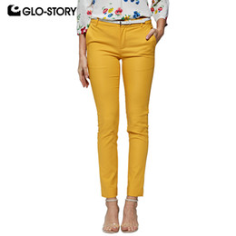 Solid Story online shopping - Glo story Spring Women Solid Straight Pants With Belt Zipper fly Work Wear Office Lady Trousers Lady s Bottom Wsk Y19071701
