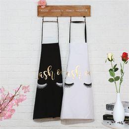 EyElashEs suppliEs online shopping - Bronzing Eyelash Waterproof Funny Apron Kitchen Women Adult Cotton For Men Accessories Supplies Baking Cooking Creative Aprons