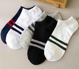 $enCountryForm.capitalKeyWord Australia - Fashion Mens Womens Cotton Stripe Low Invisible Socks With Mesh Ventilation Heel Grip Non Slip Flat Ankle Sock Slippers
