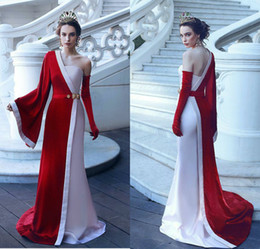 Princess White Evening Dress Australia - 2019 Princess White and Red Prom Dresses One Shoulder Long Sleeves Velvet Elegant Evening Gowns Sweep Train Formal Party Gowns