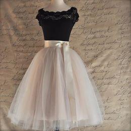 $enCountryForm.capitalKeyWord Australia - 26 Colors 5 Layered 65cm Knee Length Tulle Skirt Tutu Women Skirt High Waist Pleated Cosplay Petticoat Elastic Belt Faldas