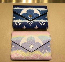 Designer Wallet Marque de luxe Designer Ladies Wallet Escale courte Tri Fold Victorine Mesdames doublure en cuir toile Wallet 41938 # en Solde