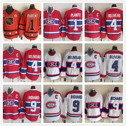 f0243f6a2b2 Men s Youth Cheap Vintage Montreal Canadiens 1 Jacques Plante 4 Jean  Beliveau 9 Maurice Richard White red Hockey Jerseys