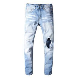 $enCountryForm.capitalKeyWord Australia - Light blue big hole designer skinny jeans for men ripped slim fit jeans Motorcycle Biker Denim pants Mens fashion Hip Hop Jeans trousers