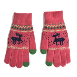 Mittens Knitted Pattern Australia - Colorful Unisexy Fingerless Fitness Gloves Fawn pattern Thickening & velvet Warm outdoor Fingerless Knitted Gloves Drop Shipping