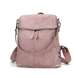 Simple Style Backpacks Women PU Leather Backpack For Teenage Girls School  Bags Fashion Vintage Solid Black Shoulder Bags School Bags TBKB007 fbf23cf9a551e