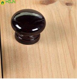 Wooden Bedside Tables Australia - 28mm Black Wooden Drawer Shoe Cabinet Bedside Table Knobs Pulls Handles