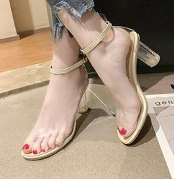 $enCountryForm.capitalKeyWord Australia - Net Red High-heeled Shoes Female Summer 2019 New European and American Korean Version Baitao One-word Strip with Thick-heeled Transparent Cr