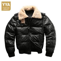 1c499d2e1b7 Lamb Fur Collar Genuine Leather Jackets Motorcycle Riding Sheepskin Real  Leather Down Jacket Men Winter Fashion Luxury Coat Male. NZ 604.15 ...
