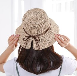 Hollow Fiber Australia - 2019 new hot breathable hand-foldable wild bow straw hat holiday vacation sunscreen sun shade hollow straw beach hat wholesale