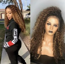 Brown Blond Hair Australia - Brazilian Ombre Human Hair Kinky Curly Wig 150 Density Blond Ombre Lace Wig 1bT30 Ombre Full Lace Wigs With Dark Roots Blonde Hair