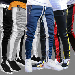 Mens Track Pants NEW Fashion Hip Hop Fitness Streetwear Trousers Men Striped Jogger Skinny Joggers Sweatpants Pantalon Homme