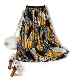 Wholesale spring long skirts for women resale online - Pleated Long Ladies Skirt New Slim Chiffon Midi Printed Midi Skirt Women For Spring Summer Autumn High Waist Skirts Womens