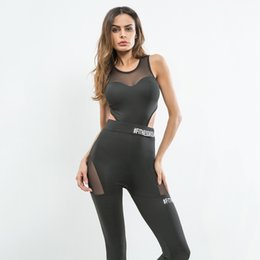 Jumpsuit Sportswear Australia - 2019 Women Sweatsuits Sportswear Mesh Patchwork Leggings Tights Padded Vest Running Jogging Fitness Gym Workout Yoga Set Jumpsuits