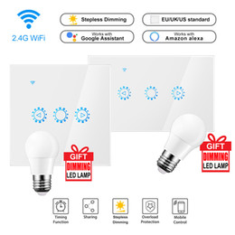 Vente en gros Ewelink Led Dimmer Wifi Gradateur Smart Touch interrupteur Ampoule 220 V / 110V travail Dimmer Avec Amazon Alexa Google assistant Y200407