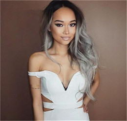 Discount ombre gray hair - Fashion Ombre Silver Grey Bodywave Lace Front Wig Glueless Long Natural Black Gray Virgin Human Hair Wigs For fasihion W