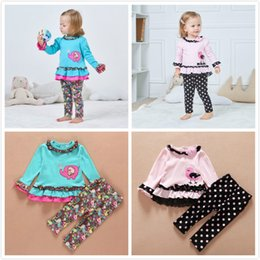 Wholesale Cute Little Girls Pieces Long Sleeve Top Pants Leggings Clothes Set Outfit cute Blue Elephant and Pink Bird