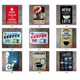 coffee iron decor Canada - Coffee Tin Sign Vintage Metal Sign Plaque Metal Vintage Wall Decor for Kitchen Coffee Bar Cafe Retro Metal Posters Iron Painting JK2006XB