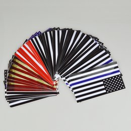 Wholesale US Flag Car Sticker Blue Black Striped American Sticker For DIY Sticker CM