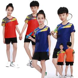 Polyester Table Skirting Australia - 2018 New children badminton set , Boys badminton set , tennis shirt kid Girl tennis tee shirts, Table T Shirt + Shorts   Skirt