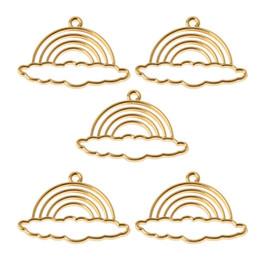 $enCountryForm.capitalKeyWord Canada - 5Pcs Rainbow Metal Frame Pendant Open Bezel Setting DIY UV Resin Jewelry Charms Jewelry Findings