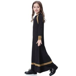 ArAbic girls dress dubAi online shopping - Muslim Long Sleeve Dress For Girl Child Kid Abaya Islamic Dubai Arabic Robe Gowns Traditional Year VKDR1285