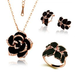 jewelry enamel painting Australia - Fashion Rose Flower Enamel Jewelry Set Rose Gold Color Black Painting Bridal Jewelry Sets for Women Wedding 82606