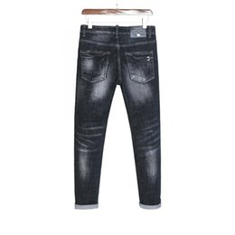Cheap Ripped Jeans UK - Men's jeans trousers Ripped Shredded pants Fashion denim New 2019 Promotion high quality cheap Slim fit Straight tightness