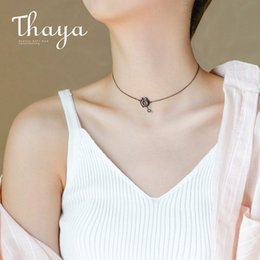 Necklaces Pendants Australia - Thaya Original Design Astrograph S925 Silver Opal Pendant Necklace Black Clavicle Chain Necklace For Women Gift Simple Jewelry J190612