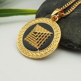 Pyramid Necklaces Australia - crystal pyramid round pendant necklace hip hop gold plated necklaces with chain jewelry for men or women item number N2552