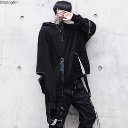 Punk Rings Australia - Ring Zipper Hollow Letter Ribbon Punk Streetwear Hip Hop Black Hooded Sweatshirt Plus Size Oversized Loose Hoodies Pullover Top