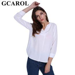$enCountryForm.capitalKeyWord Australia - Gcarol 2019 Euro Style Women V-neck Chiffon Shirt Ol Office Lady Blouse White Elegant Neat Tops For 4 Season MX19070501