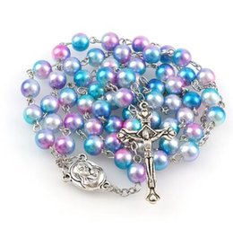 Free Crucifix Pendant Australia - dhl free New Starry Sky Color Rosary 8mm Round Pearl Beads Catholic Rosary With Holy Soil Medal Crucifix Prayer Religious Jewelry
