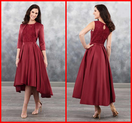 $enCountryForm.capitalKeyWord NZ - 2019 Sexy Burgundy Hi Low mother of the bride Groom dresses Lace Top With Sequins Two Pieces Satin Ruched Evening Cocktail Dress Cheap
