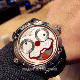 $enCountryForm.capitalKeyWord Australia - High quality Unique Smiling Face Creativity Konstantin Chaykin Joker Swiss Quartz Mens Watch White Red Dial Steel Case Leather New Watches