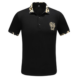 Wholesale black polo tops for sale – custom 2019 Casual Polo Shirt Summer England Classic Short Sleeve Striped Polos Top Brand Men s Embroidery Pullover Lapel Neck Cotton Tee