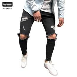 $enCountryForm.capitalKeyWord NZ - Men's Jeans Hip Hop Skinny Pencil Jeans For Men clothes Stretchy Ripped Slim Fit Vintage Blue Gray black Color Punk Pants